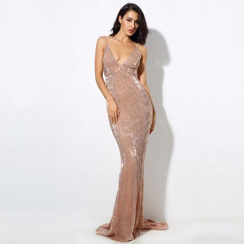 Goal Digger Champagne Embellished Sequin Maxi Party Gown Dress - Fashion Genie Boutique