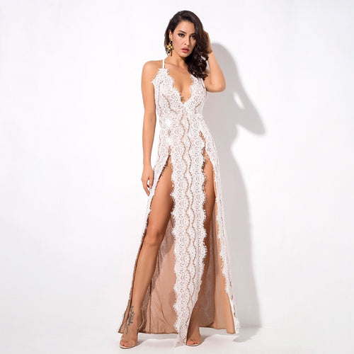 Dash of Sass White Lace Double Split Maxi Dress - Fashion Genie Boutique