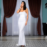 Win Me Over White Glitter Feather Strapless Maxi Dress - Fashion Genie Boutique