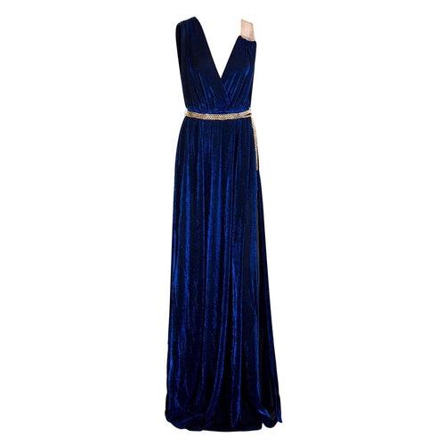 Grecian Goddess Navy Belted Maxi Split Dress - Fashion Genie Boutique