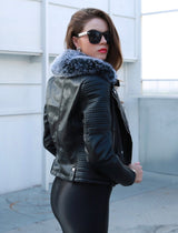 Love Takes Two Black Faux Leather Embroidered Jacket - Fashion Genie Boutique