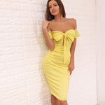 Heaven Sent Yellow Bardot Front Wrap Midi Dress - Fashion Genie Boutique