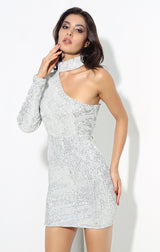 Mystique Silver Sequin One Shoulder Mini Choker Dress - Fashion Genie Boutique