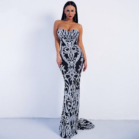 Canterbury Black & Silver Sequin Strapless Maxi Dress - Fashion Genie Boutique