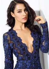 Bordeaux Lust Blue Crochet Long Sleeve Playsuit - Fashion Genie Boutique