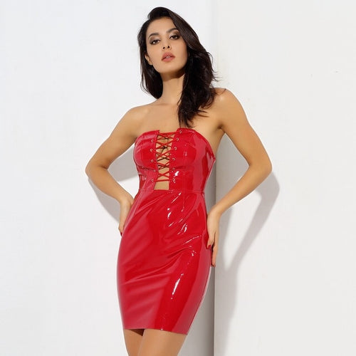 Chasing Highs Red PU Mini Dress - Fashion Genie Boutique