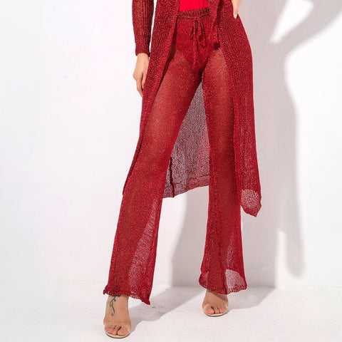 Valerie Red Glitter Knit Trousers - Fashion Genie Boutique