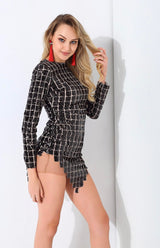 Hayden Black Sequin Long Sleeve Sequin Mini Dress - Fashion Genie Boutique