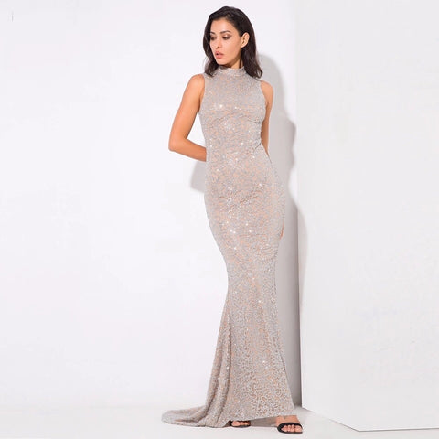 Felicia Silver Glitter Embellished Maxi Gown Dress - Fashion Genie Boutique