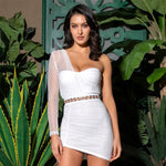 In It For The Fame White Mesh Mini Dress - Fashion Genie Boutique