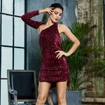 Hollywood Halo Burgundy Sequin One Shoulder Dress - Fashion Genie Boutique
