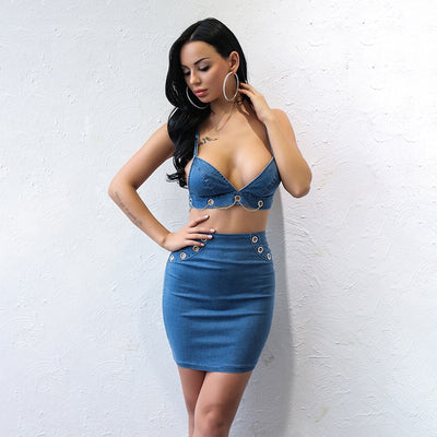 Hollywood Hills Blue Denim Crop Top & Mini Skirt Co-Ord - Fashion Genie Boutique