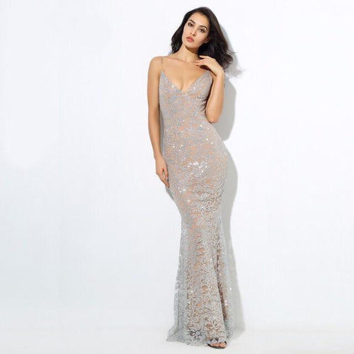 Sweet Delight Silver Glitter Plunge Maxi Gown Dress - Fashion Genie Boutique