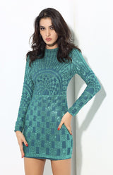 Gatsby Green Glitter Embellished Long Sleeve Mini Dress - Fashion Genie Boutique