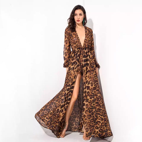Jungle Heat Leopard Print Long Sleeve Playsuit - Fashion Genie Boutique