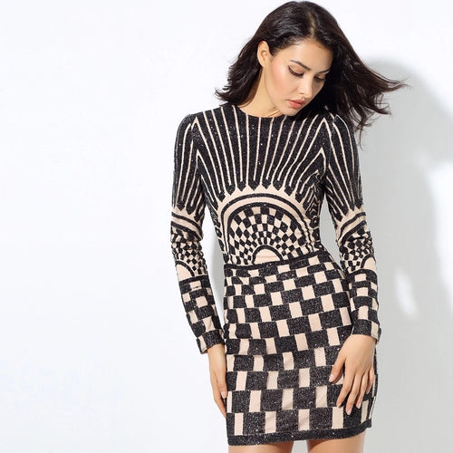 Harlie Black & Nude Glitter Long Sleeve Mini Dress - Fashion Genie Boutique