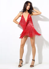 Secret Desire Red Lace Fringed Party Dress - Fashion Genie Boutique