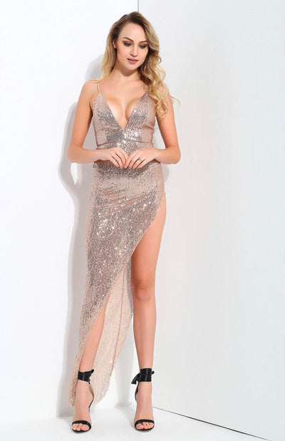 Show Must Go On Champagne Sequin Maxi Dress - Fashion Genie Boutique
