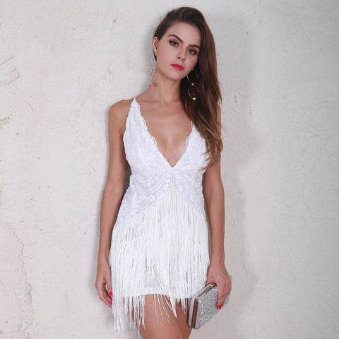 Strike a Pose White Fringe Sequin Mini Dress - Fashion Genie Boutique