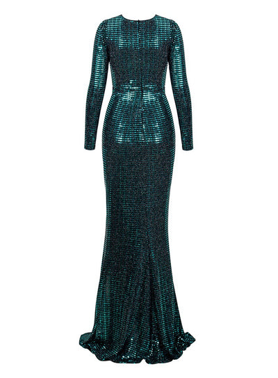 City Of Love Green Plunge Sequin Long Sleeve Maxi - Fashion Genie Boutique