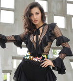Sheer Perfection Black Mesh Long Sleeve Ruffle Jumpsuit - Fashion Genie Boutique