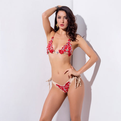 Don't Blend in Red Crochet Bikini Swimsuit - Fashion Genie Boutique