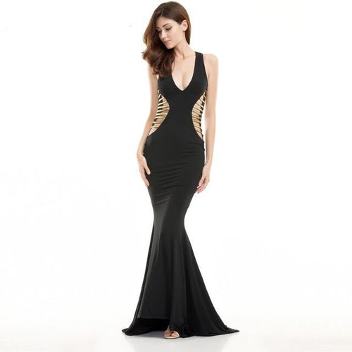Brooklyn Black Cut Out Fishtail Maxi Dress - Fashion Genie Boutique