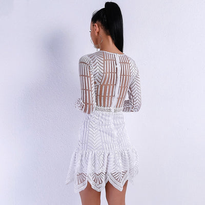 Jinx White Crochet Long Sleeve Mini Dress - Fashion Genie Boutique
