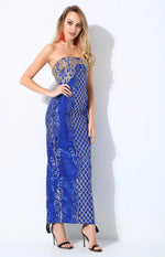 A Long Affair Blue & Gold Sequin Strapless Maxi Dress - Fashion Genie Boutique