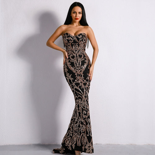 Canterbury Black Gold Sequin Strapless Maxi Dress Fashion Genie