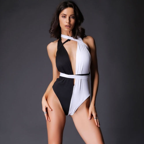 Samia Black & White Plunge Swimsuit - Fashion Genie Boutique