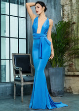Make An Entrance Blue Multi-way Maxi Fishtail Dress - Fashion Genie Boutique