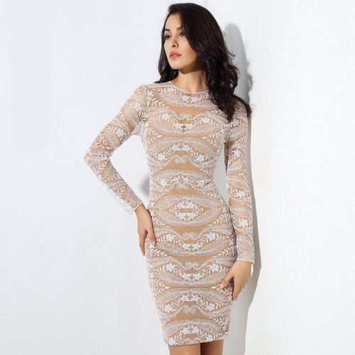 Unapologetic Diva Nude Long Sleeve Mini Dress - Fashion Genie Boutique