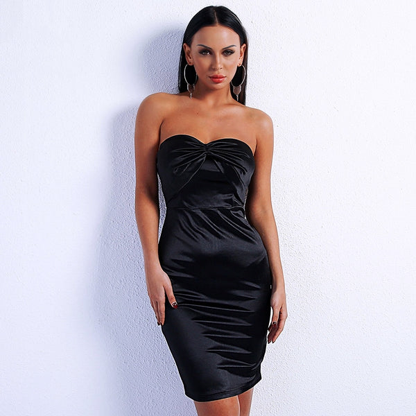 Better Off Alone Black Strapless Satin Mini Dress - Fashion Genie Boutique