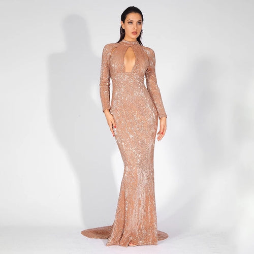 Cut It Out Gold Keyhole Sequin Long Sleeve Maxi Fishtail Dress - Fashion Genie Boutique