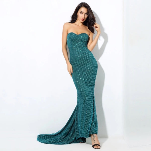 Fell From Heaven Green Glitter Strapless Maxi Dress - Fashion Genie Boutique