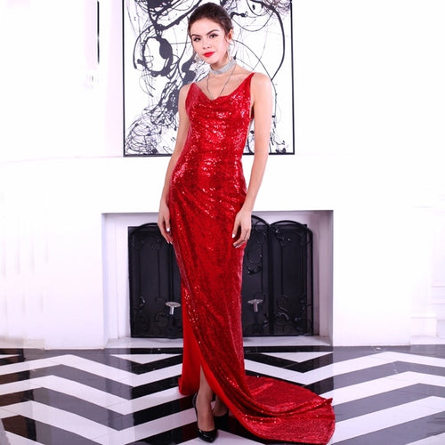 Boulevard Beauty Red Sequin Maxi Gown Party Dress - Fashion Genie Boutique