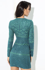 Starstruck Green Glitter Long Sleeve Mini Dress - Fashion Genie Boutique