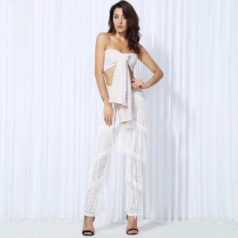 Carla White Two Piece Fringe Trousers & Crop Top - Fashion Genie Boutique
