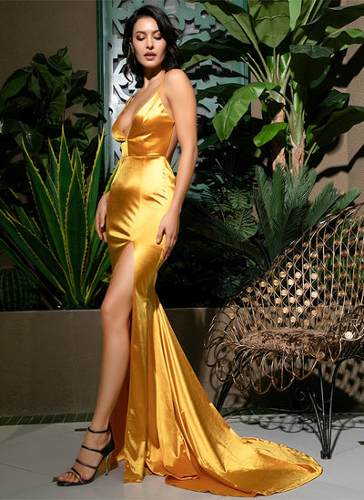 On The Bright Side Yellow Satin Maxi Gown Dress - Fashion Genie Boutique