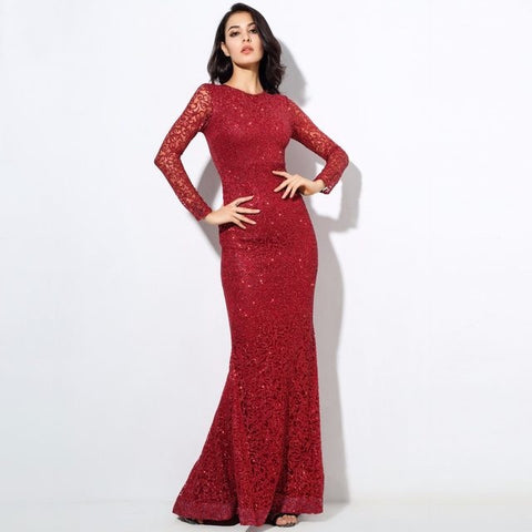 Spellbound Red Glitter Fishtail Long Sleeve Maxi Dress - Fashion Genie Boutique