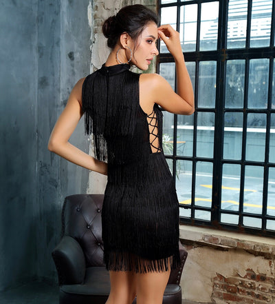 Razzle Dazzle Black Fringe Mini Dress - Fashion Genie Boutique