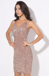 Weekend Fun Rose Gold Sequin Mini Dress - Fashion Genie Boutique