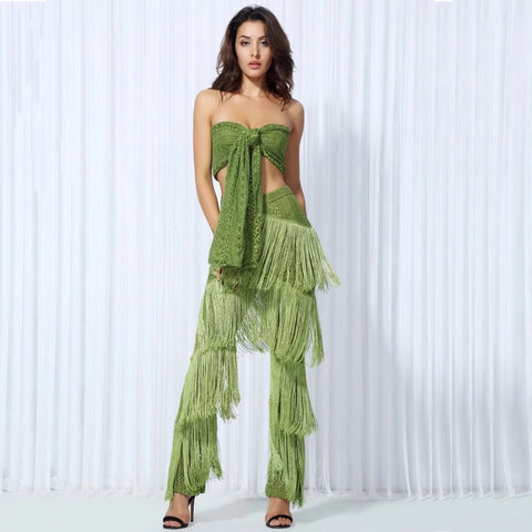 Carla Green Two Piece Fringe Trousers & Crop Top - Fashion Genie Boutique