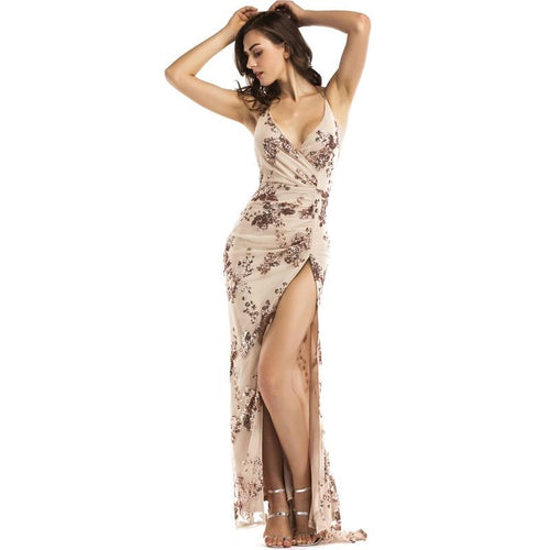 Glorious Gold Sequin Front Split Sweeping Maxi Dress - Fashion Genie Boutique