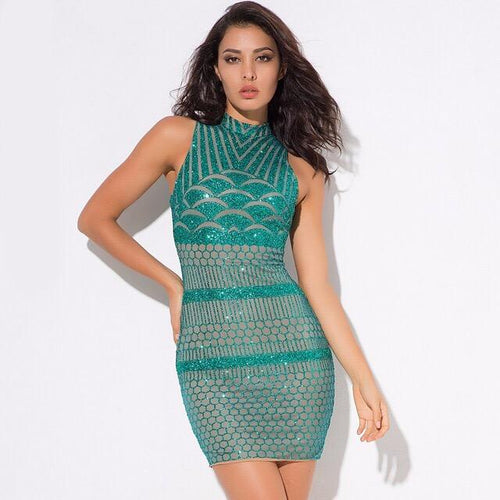All Dolled Up Green Glitter Embellished Mini Dress - Fashion Genie Boutique