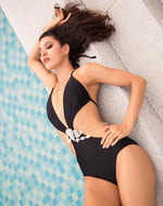 Sun Lover Black Monokini Swimsuit With Crystal Body Chain - Fashion Genie Boutique