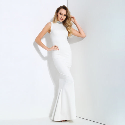 Glam Squad White Crystal Embellished Fishtail Maxi Dress - Fashion Genie Boutique