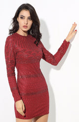 Starstruck Red Glitter Long Sleeve Mini Dress - Fashion Genie Boutique
