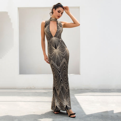 Disco Inferno Black & Gold Glitter Maxi Dress - Fashion Genie Boutique